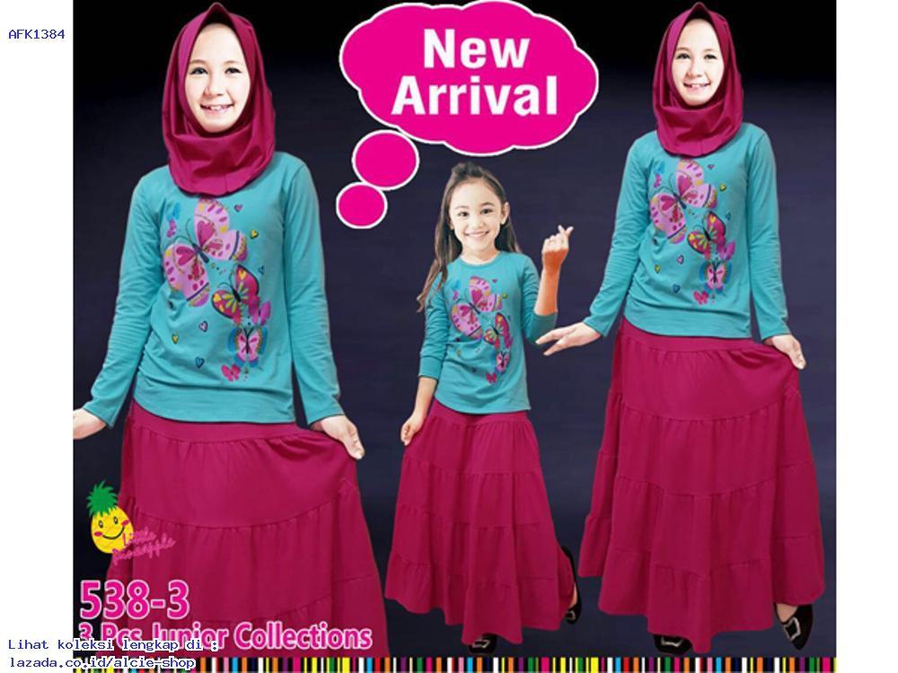 Setelan Baju Muslim Anak Perempuan Little Pineapple Murah 1384 - AFK91