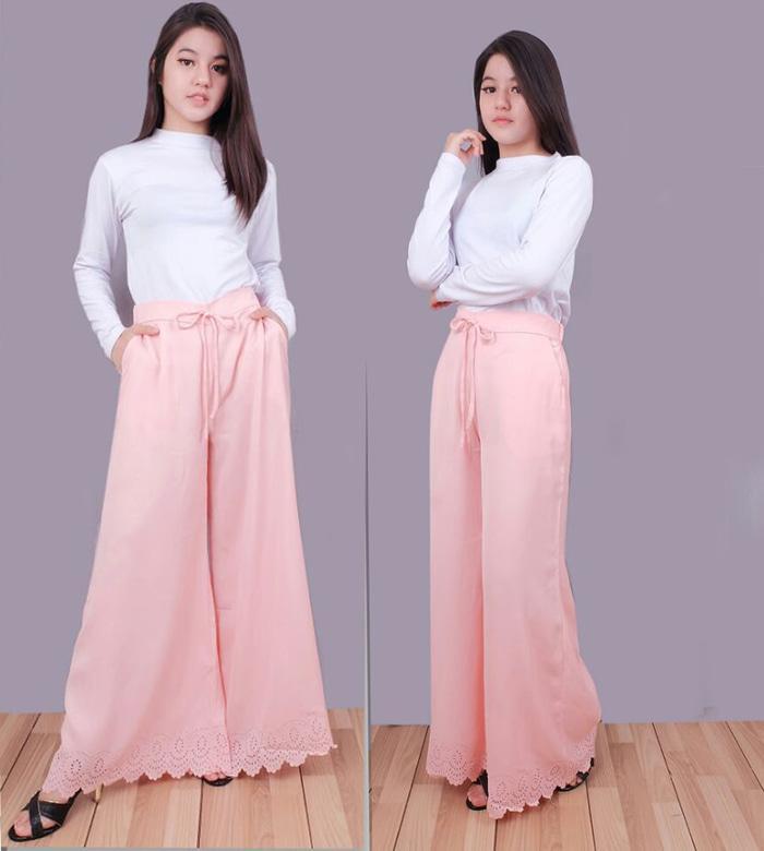 [Kulot Fradella Pink SW] Celana Wanita Wolly Crepe Pink