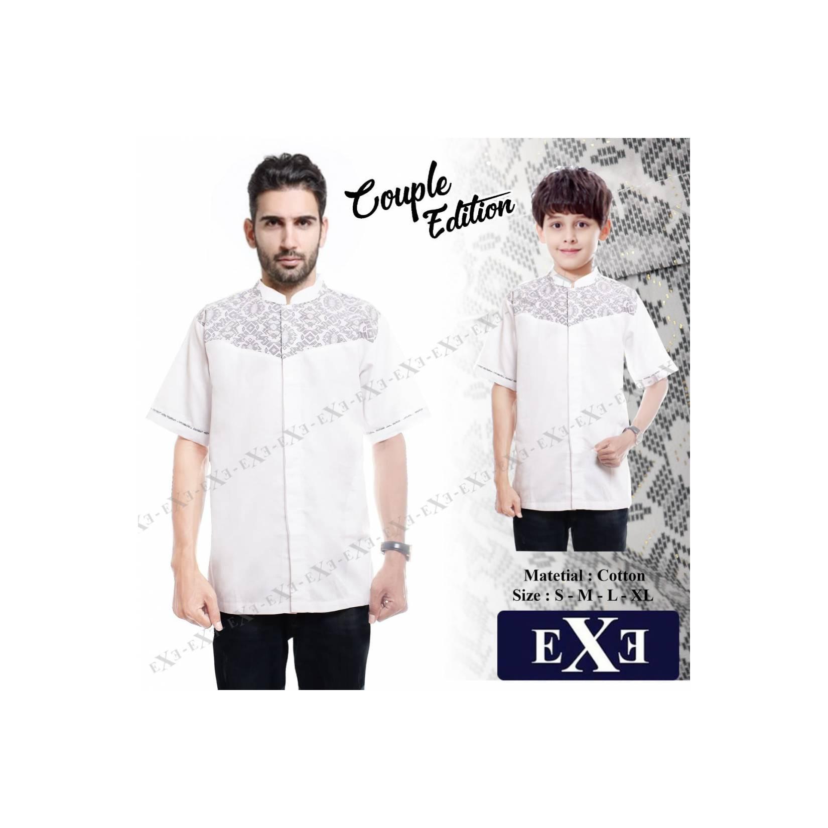Kemeja / Baju Koko Muslim Couple Ayah Anak eXe - Putih Kombinasi Batik - Putih