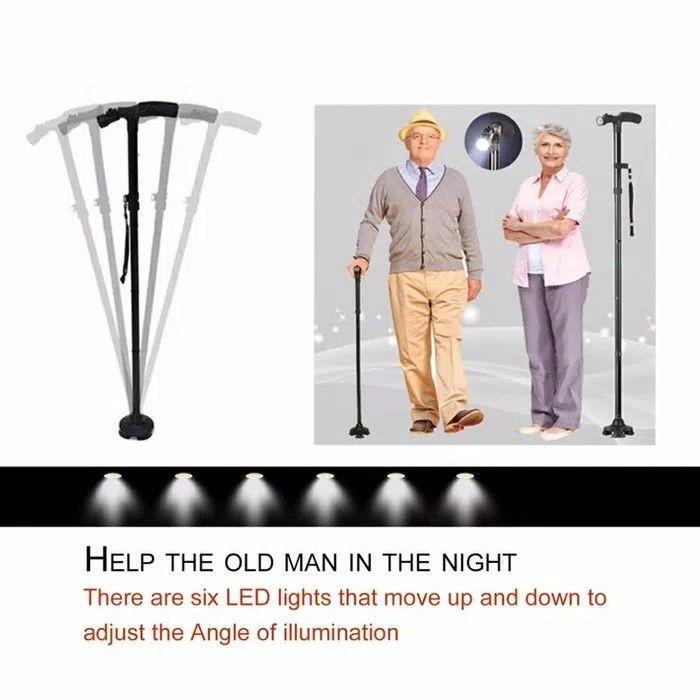 Tongkat Lipat Lampu LED Bantu Jalan Manula