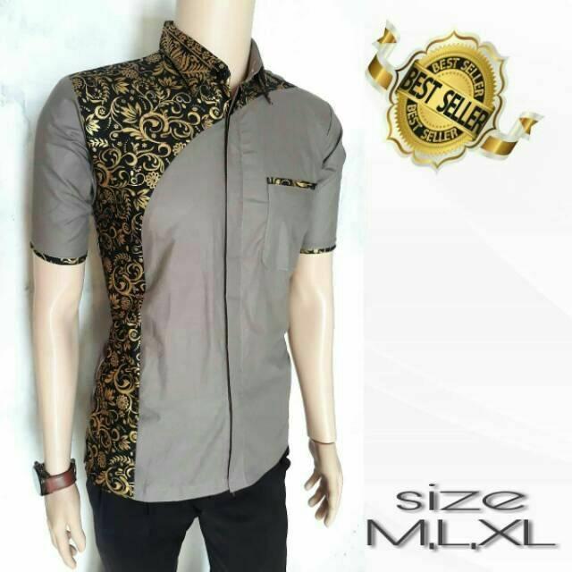 Kemeja Pria Kombinasi Batik - Model Baju Batik Terbaru / Baju Batik Modern / Batik Masa Kini / Baju Batik Pria Keren / Batik Modern / Baju Koko Batik Kombinasi