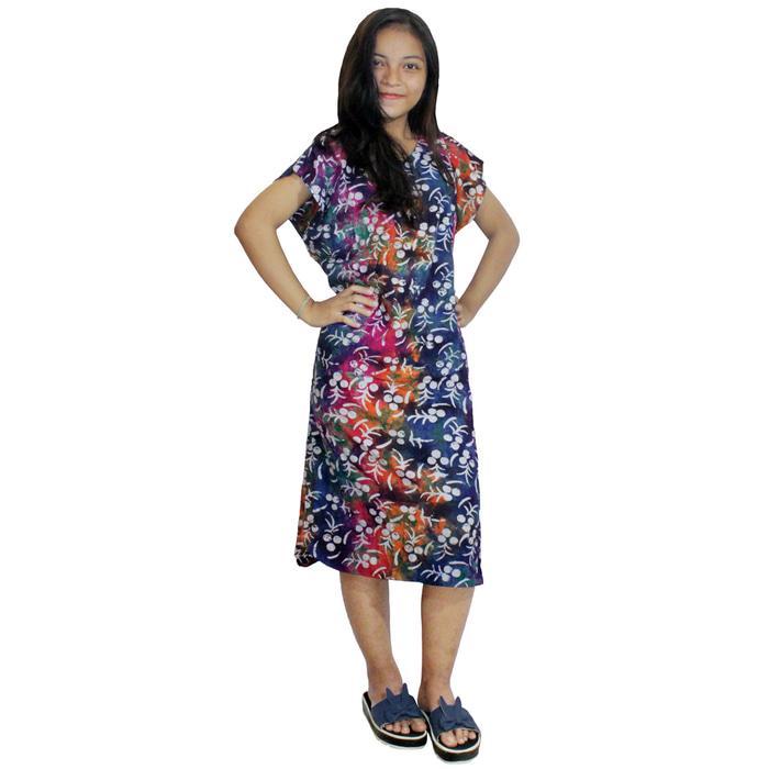 TERLARIS Daster Midi Batik Cap Halus, Baju Tidur, Kancing, (RDT0010-04) PROMO
