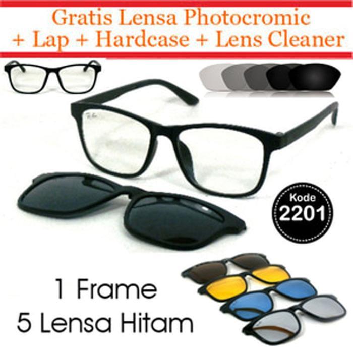 Hemat 10%!! Frame Kacamata Clip On 5 Lensa + Lensa Otomatis Fotogrey Photocromic - ready stock