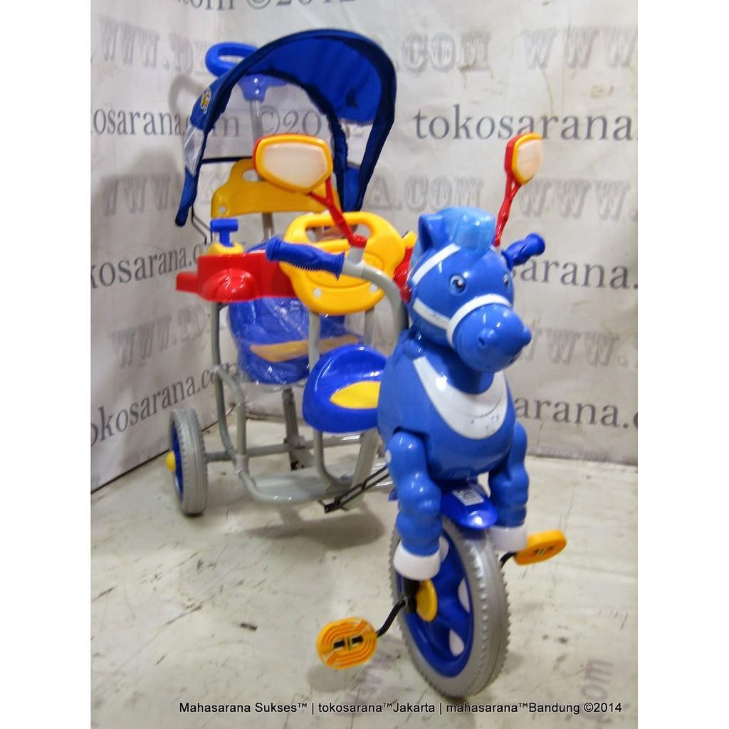 Jabodetabek Go-Send Family F9021T 2 Kursi Musik Dobel Kuda & Pesawat Sepeda Roda Tiga