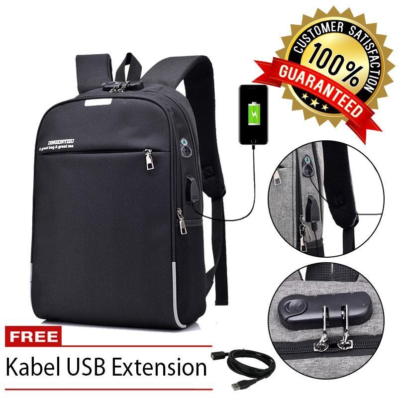 Dxyizu BP-L Tas Ransel Laptop Anti Maling Pria Sekolah Kuliah Kerja Support USB Charger and Gembok Built-in Lock