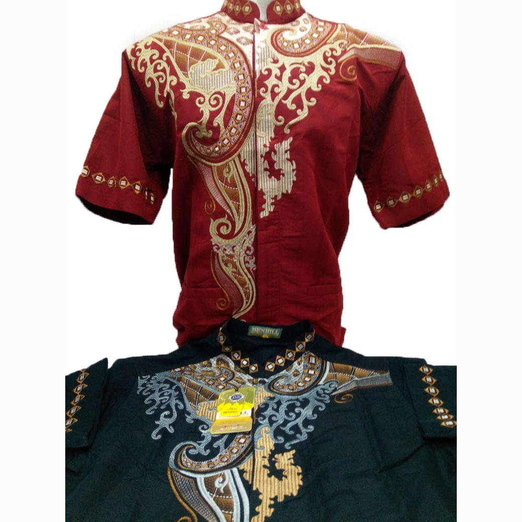 Baju Koko Pria Lengan Pendek Warna Merah Merk Benhill Original / Kemeja Muslim Pria Bordir