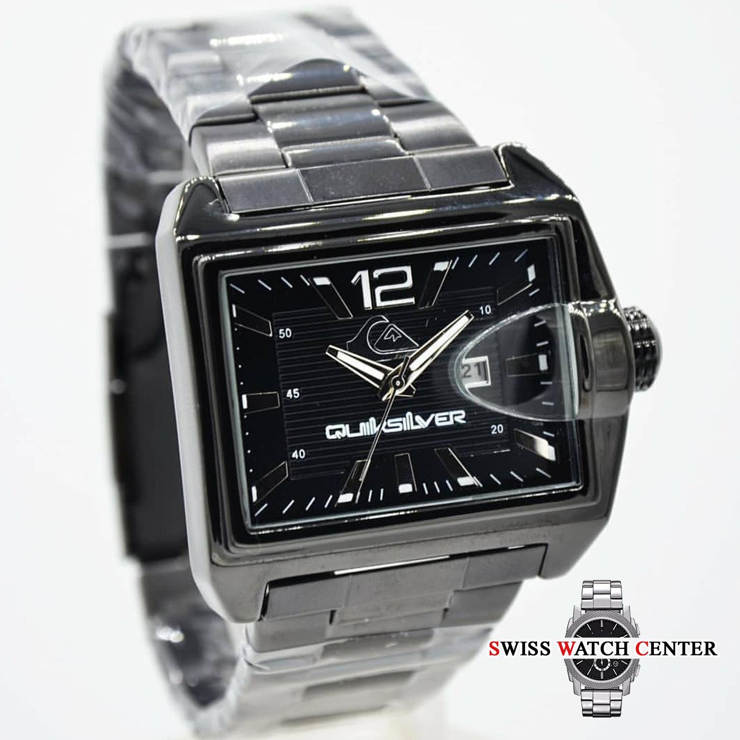 Jam Tangan Pria - Quiksilver  Swiss Army  Q Q  Alexandre Christie  Desain  kotak - Stainless Steel - Tanggal Aktif - fc1cacf065
