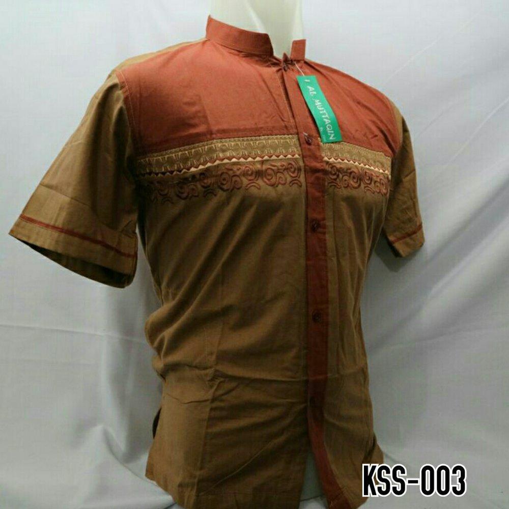 Baju Muslim Gamis Pria Baju Koko Bordir Kombinasi Lengan Pendek Murah Motif Terbaru KSS 003 di lapak Al Muttaqin Collection produsenbajukoko
