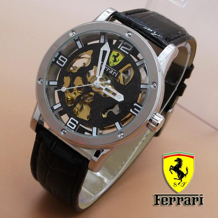 Mesin Automatic Tanpa Baterai Jam Tangan Pria / Ferrari Skeleton Leather ( Black Dial Black Leather) / Jam Tangan