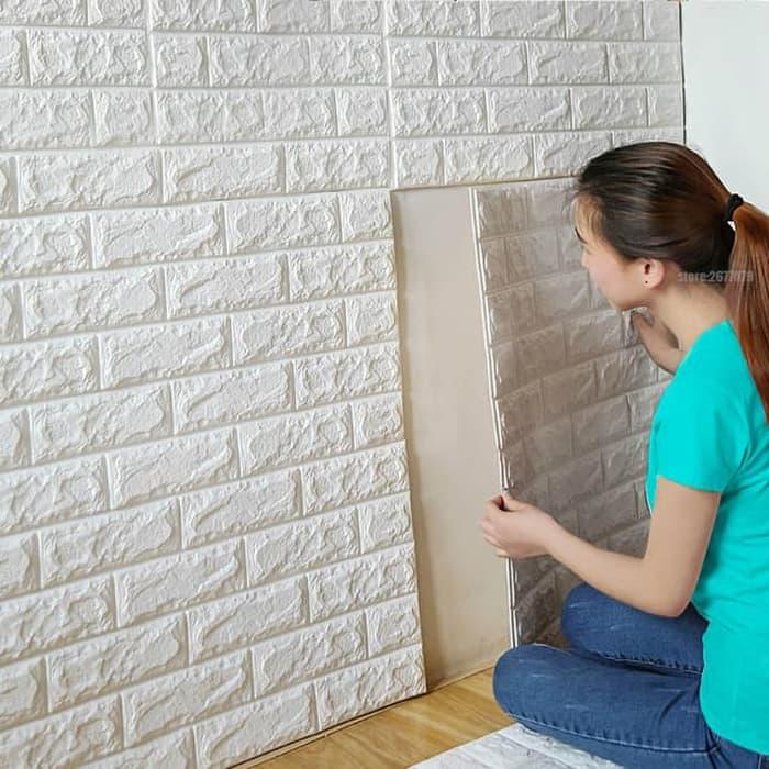 PROMO Wallpaper Foam 70 CM X 77 CM 3D Bata Putih White Brick Panel PAKET TERLARIS