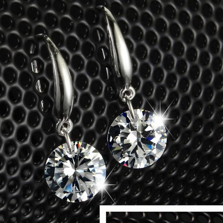 New Fashion Anting Hook Berlian Zircon Kecil Kristal Putih