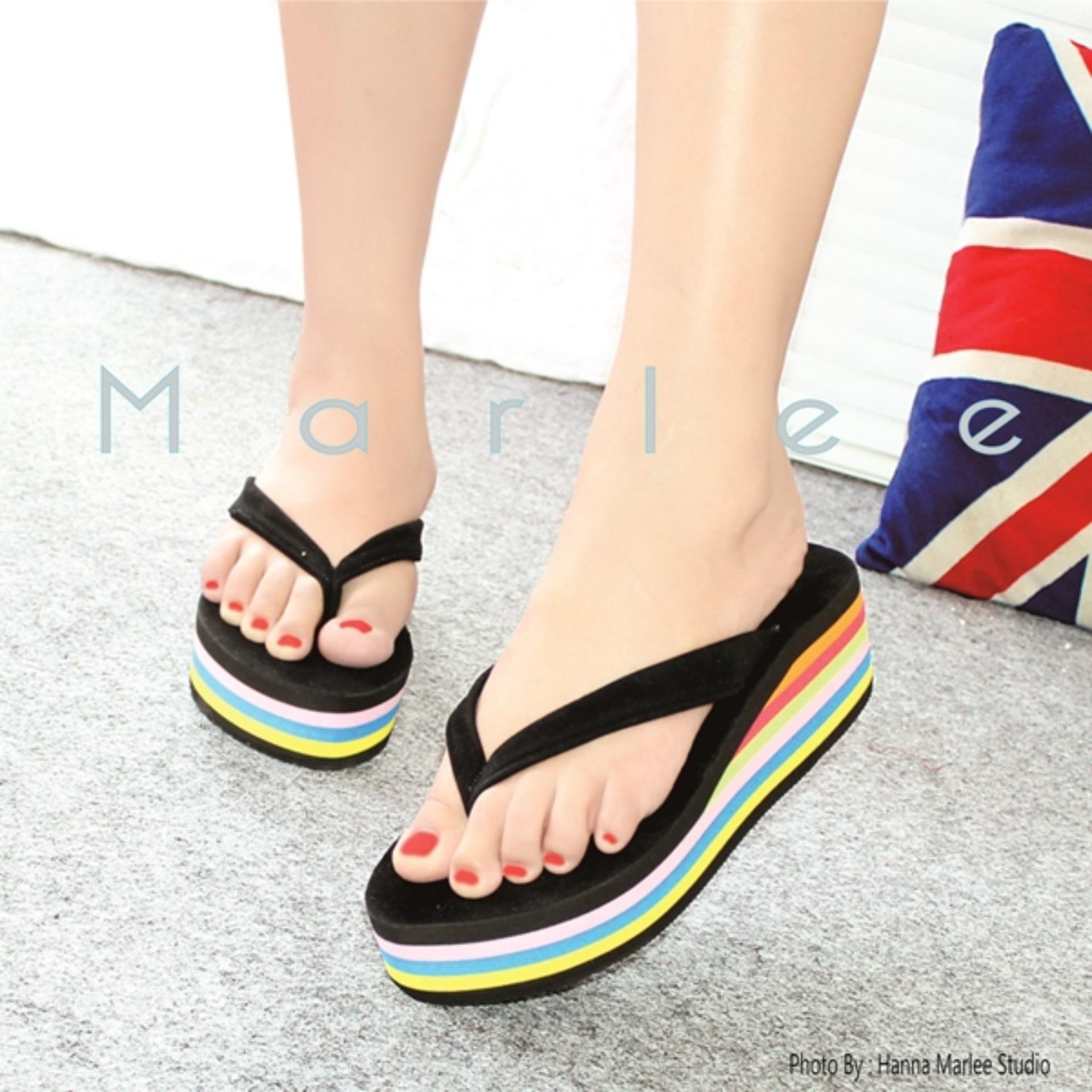 Wedges Rainbow Flip Flop Spon Marlee YD-04 Hitam