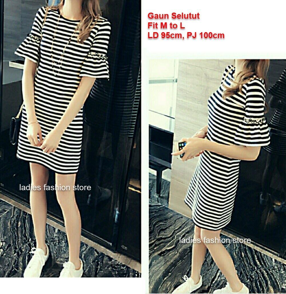 Gun Terusan Selutut Warna Simple / Gaun Wanita Model Strip Putih Hitam / Dress Wanita Lengan Pendek