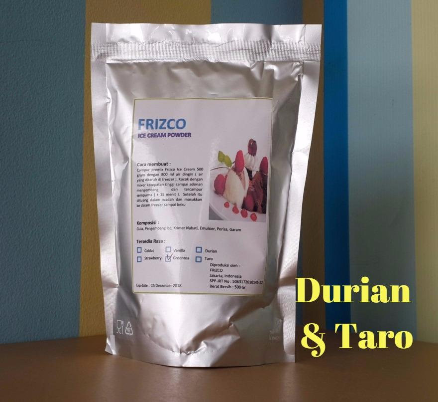 Bubuk Es Krim Frizco 500gr Durian Dan Taro (2pcs) Ice Cream Powder (1kg) Frisco Gitabali By Gitabali.