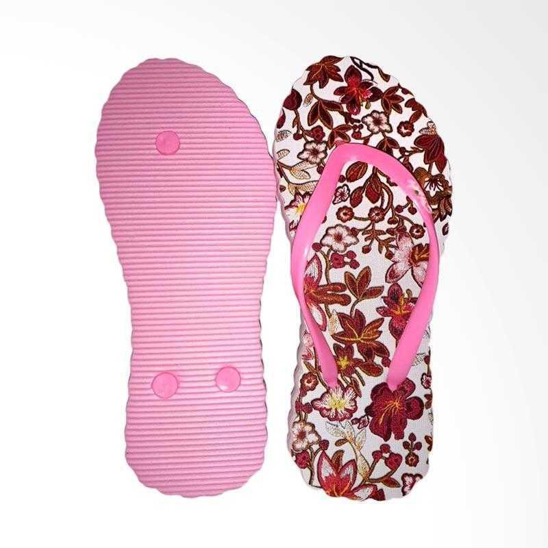 Sandal Motif Merk Chika - Original Official Store - Flower Pink White