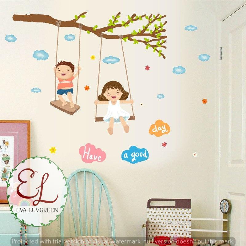 Eva Luvgreen Wallsticker Ayunan Anak Have a Good Day Ukuran 50x70cm Stiker Dinding/ Stiker Tembok