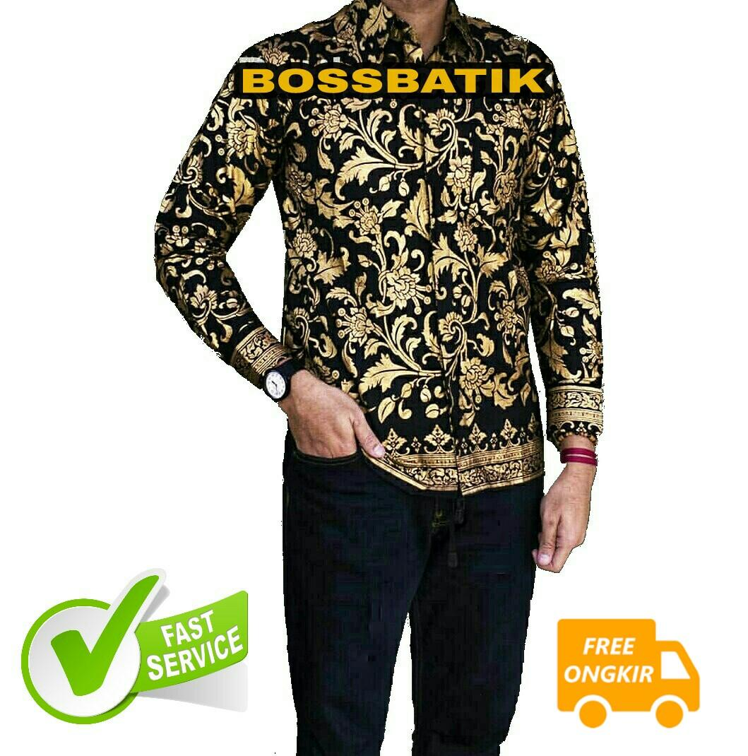 Kemeja Batik Pria Lengan Panjang Kombinasi Murah  049a449b1e