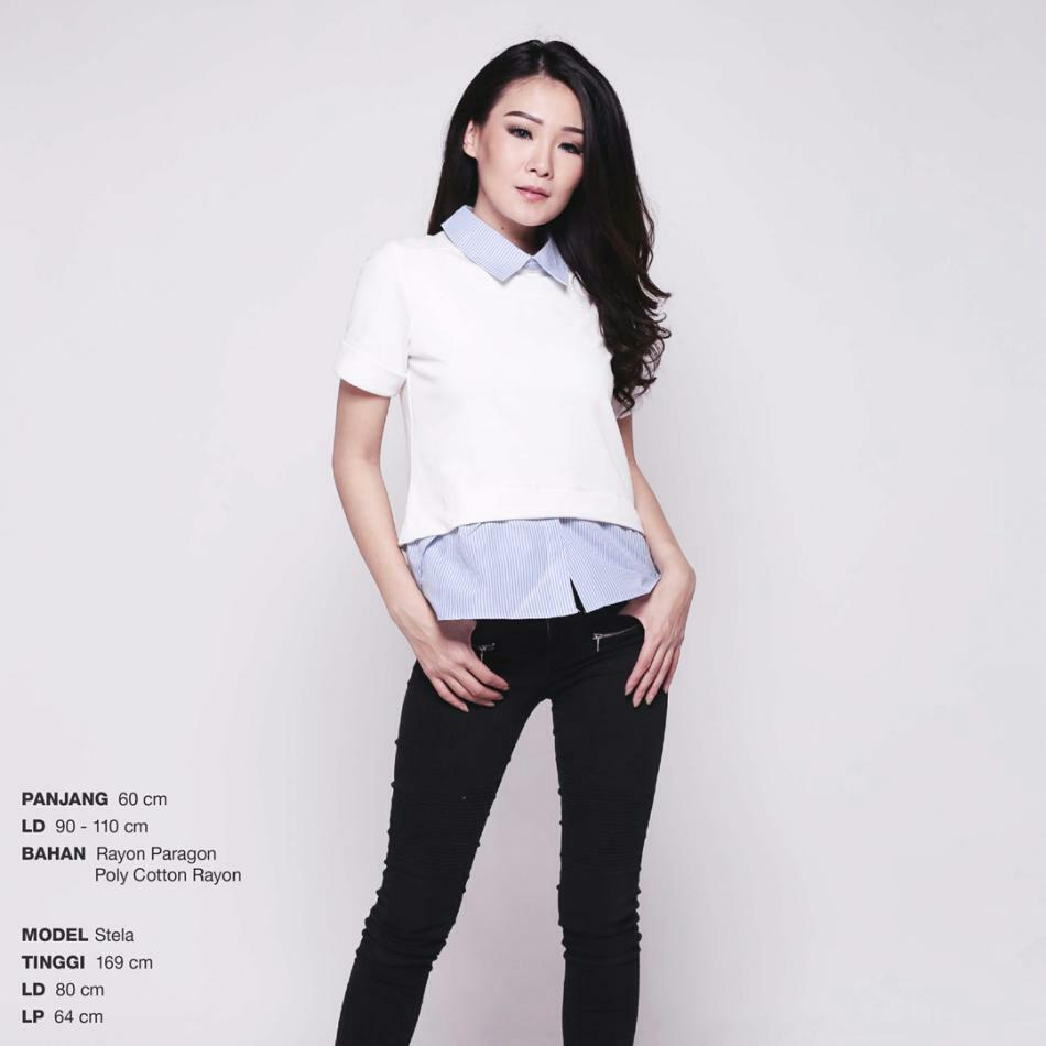 Executive semi blouse / baju kerja wanita hitam putih navy maroon burgundy