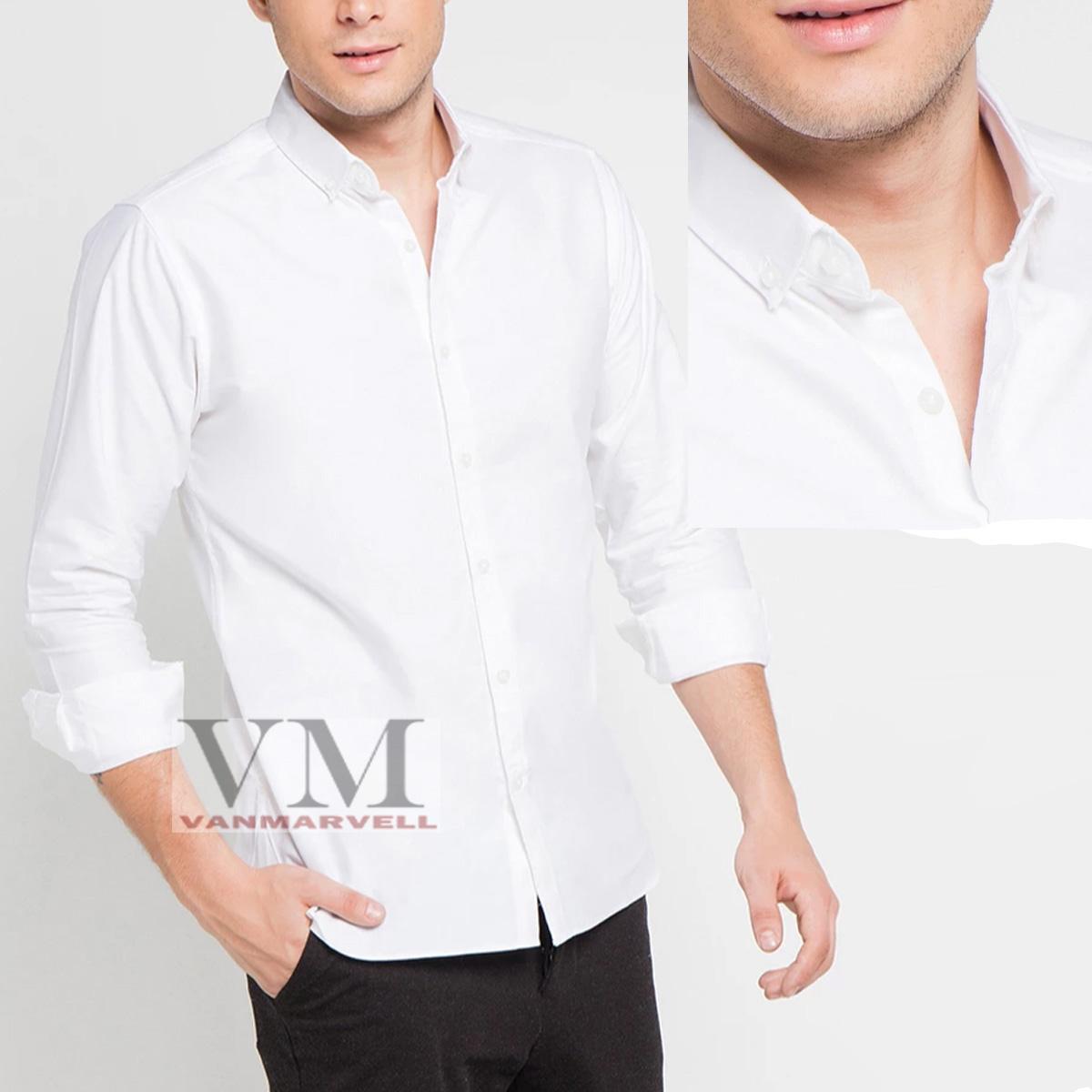 VM Kemeja Polos Putih Slimfit Panjang - Kancing leher