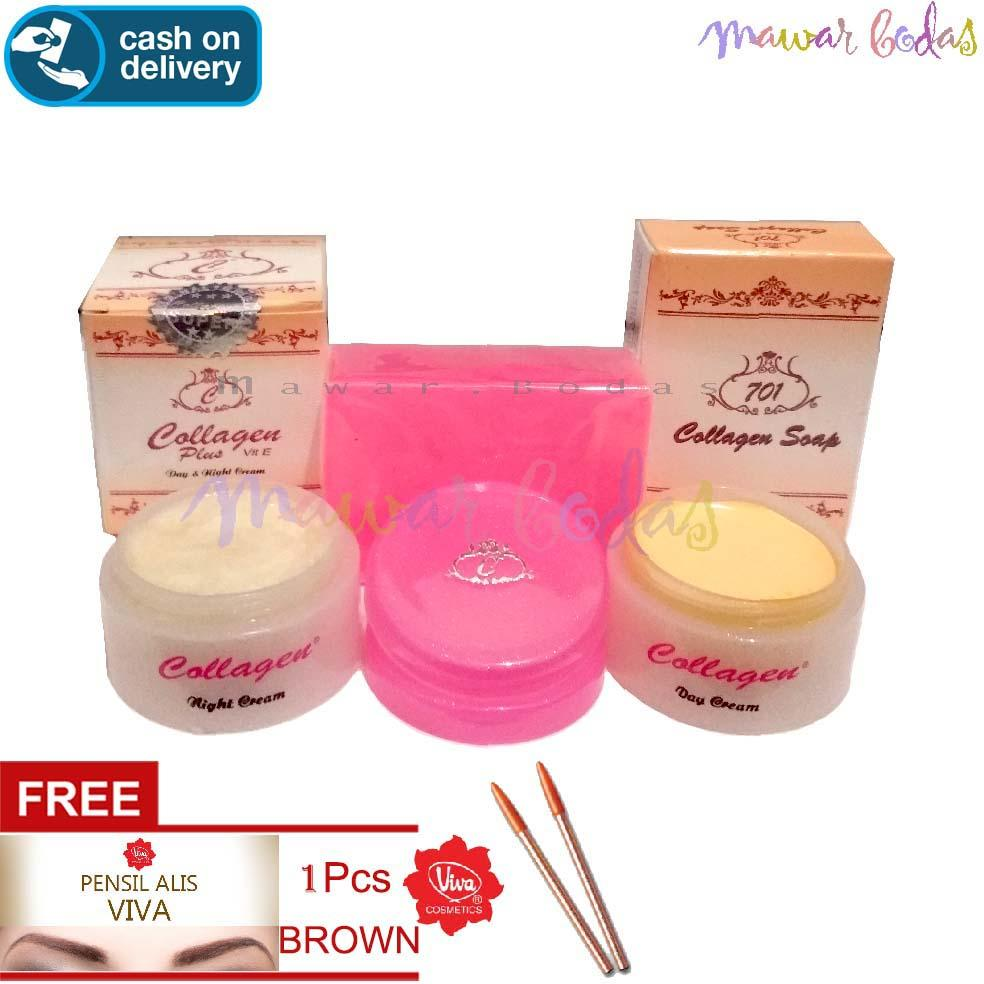 Paket Pemutih wajah Terbaik - Cream Collagen Asli Plus Sabun - FREE VIVA Pensil alis BROWN