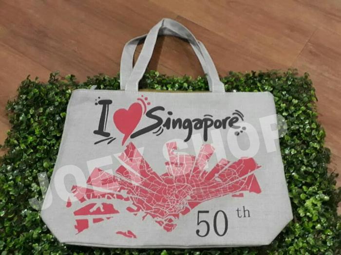 HOT PROMO!!! Tas Oleh oleh Souvenir I Love Singapore 50 th warna Abu abu - 8Kp3K2
