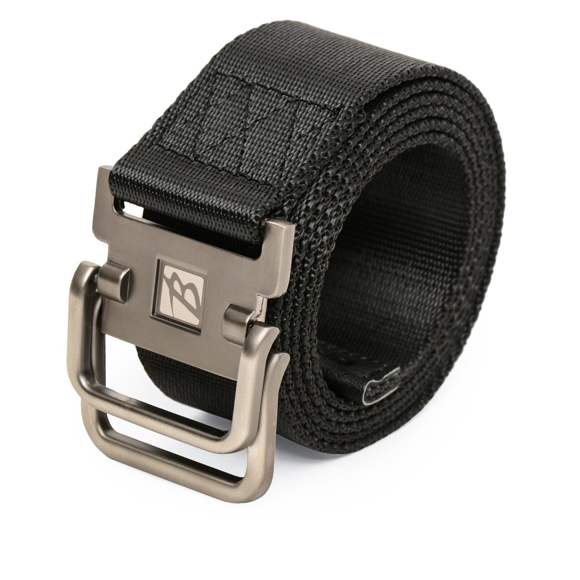 BREWYN Double Metal Buckle Canvas Belt / Ikat pinggang pria / Sabuk Pria - JACKSON - HITAM