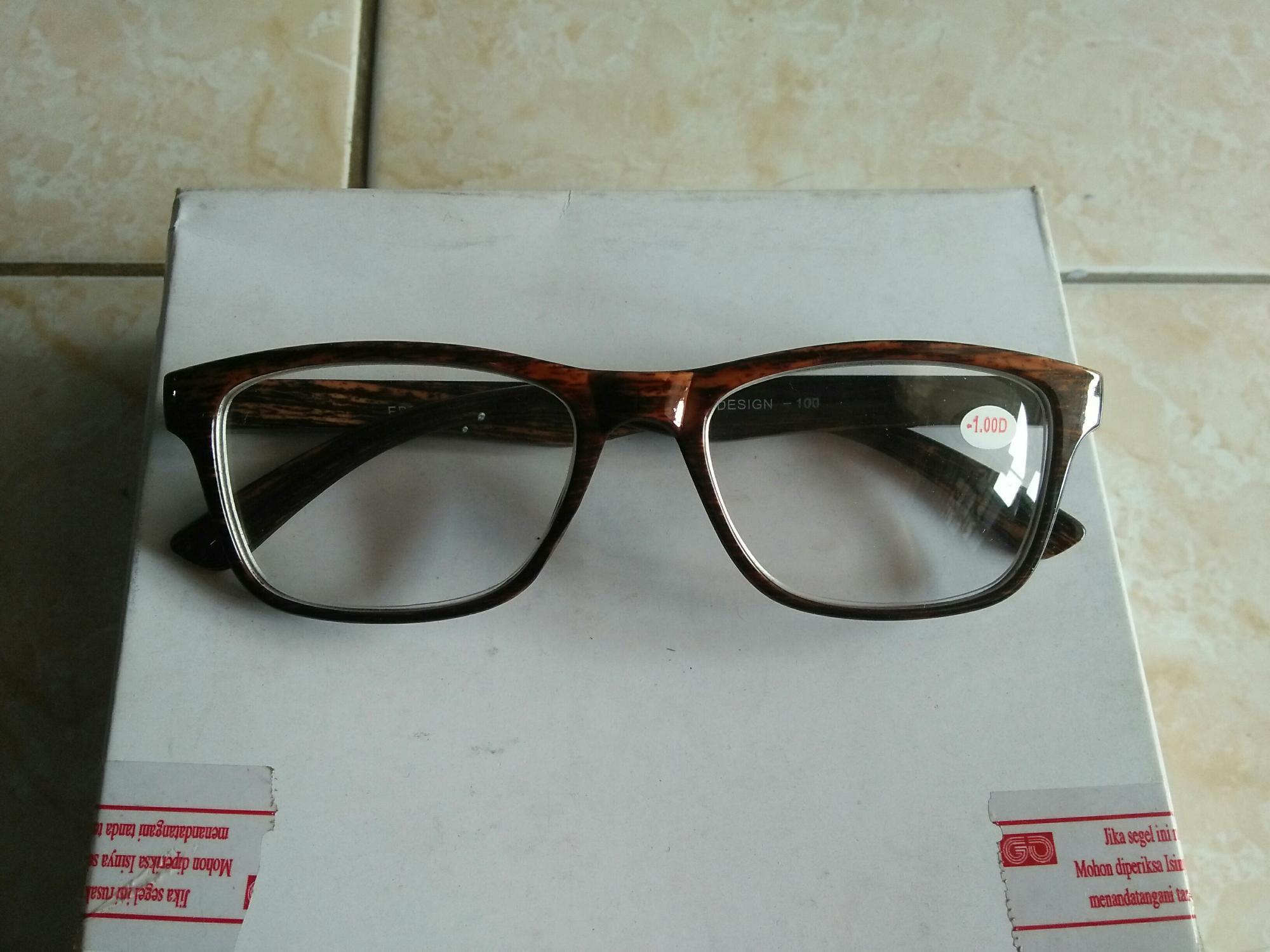Kacamata minus 1.00 kacamata baca motif kayu coklat trendy EB026