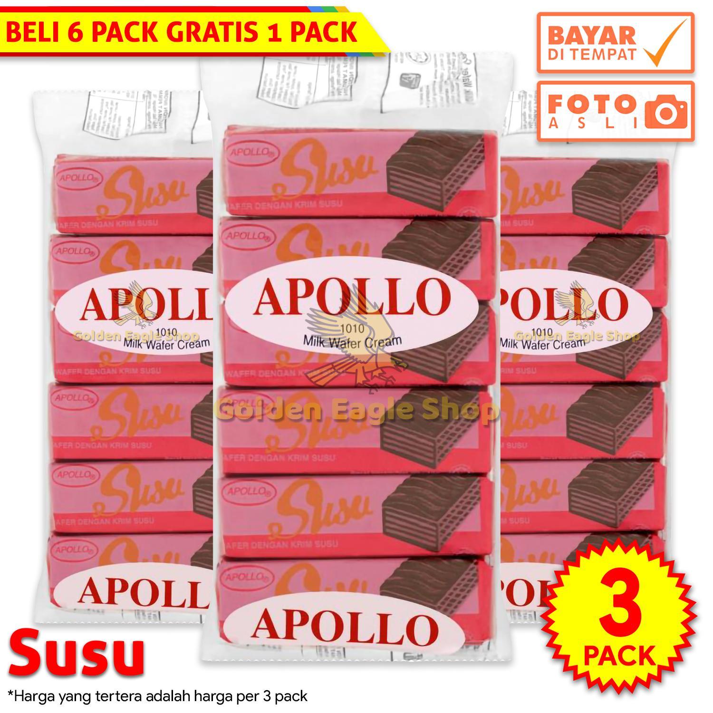 [3 PACK] Apollo - Milk Wafer Cream / Wafer Salut Dengan Krim Susu 144g