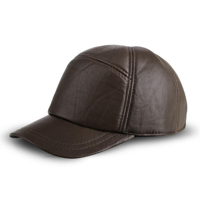 JK Collection Topi Baseball Kulit Pria Coklat - TP 001