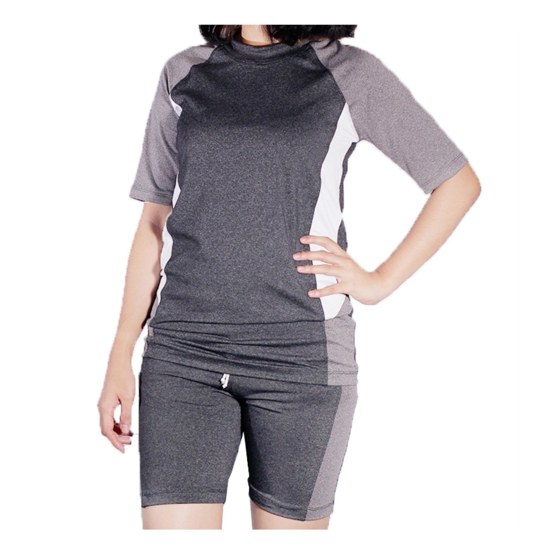 Mall BTM Fashion - Diana Baju Renang Atasan Dan Bawahan Pendek Kombinasi Warna Harga Murah - Abu-abu Tua