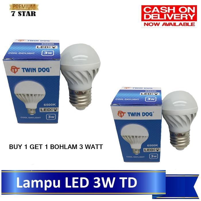 BUY 1 GET 1 Bohlam LED Lampu Bukan Philips 7STAR - Bohlam Lampu Hemat Energy 3 Watt - Bohlam Terbaik Untuk Penerangan Rumah Anda - Putih