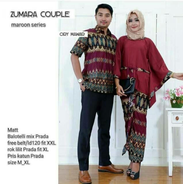 TERMURAH-Batik Modern - Baju Muslim Wanita Terbaru 2018 - Kebaya Couple Modern – Couple Batik – Batik Sarimbit - Batik Kondangan - Baju Batik Couple Zumara Marun