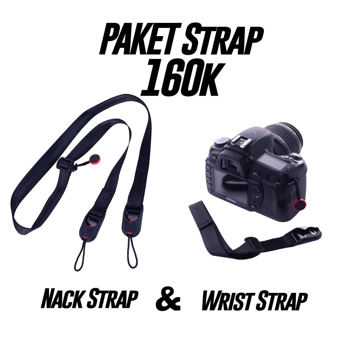 Paket Strap Kamera Murah Nack Strap (Head) & Wrist Strap (Hand) ala Peak Design Strap Canon Sony Nikon Fuji Lumix tali kamera