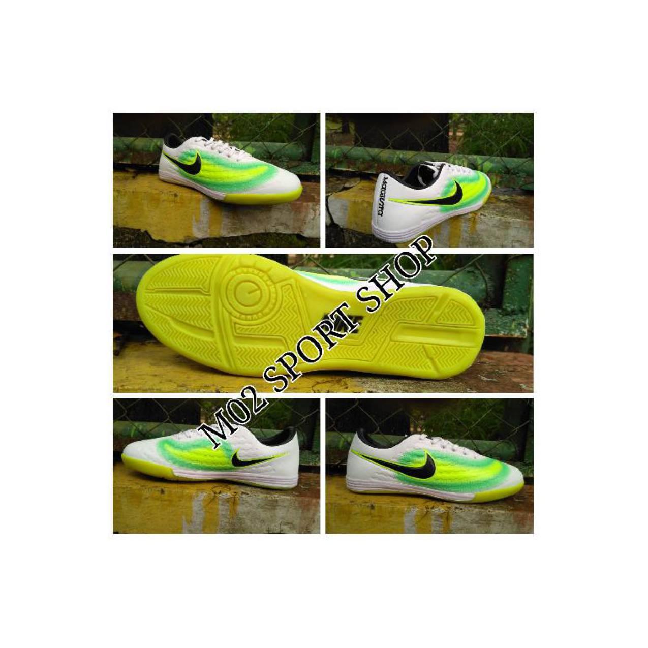Sepatu futsal Nike magista putih list hitam sol karet