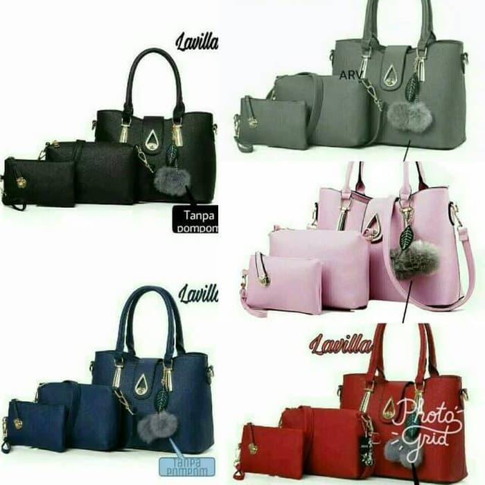 PROMO paket tas handbag wanita 3in1 pink/navy/hitam/merah kantor murah -