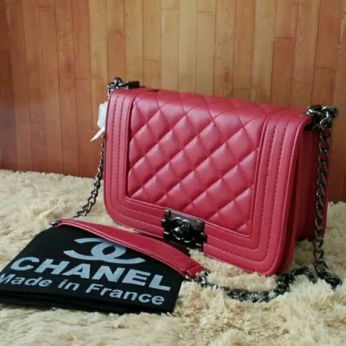 PROMO!!! Tas Selempang Wanita Branded Chanel Boy Mini Tali Rantai Warna Merah - fLz5Zb