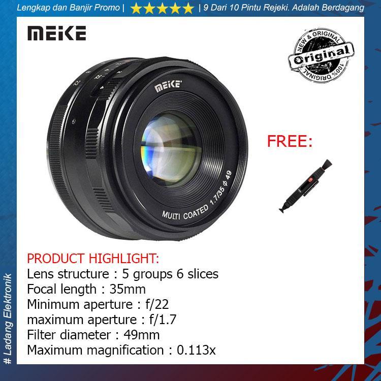 Meike 35mm F1.7 Lensa Kamera for Mirrorless Sony E-Mount ( Free Lenspen Pembersih Lensa ) / Garansi Resmi 1 Tahun- Hitam