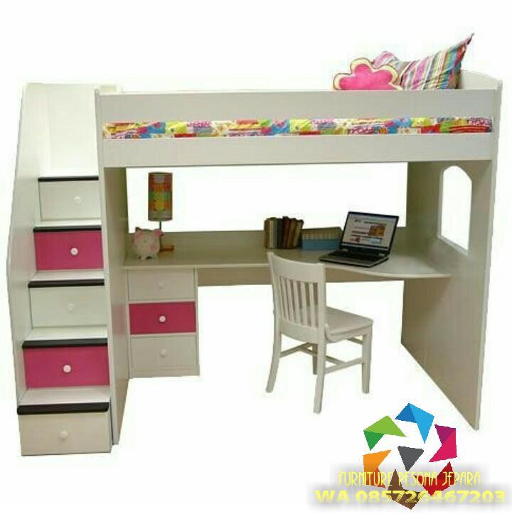Ranjang susun set meja belajar anakm Tempat tidur anak. PESONA JEPARA 82