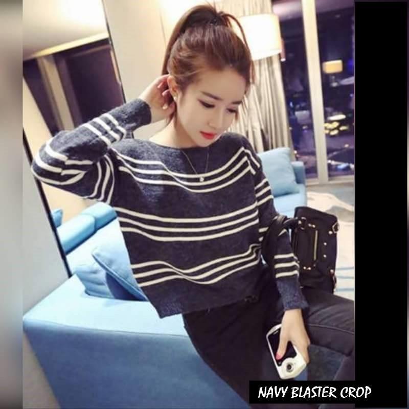 NAVY BLASTER CROP ||| nouska shop ||| Grosir Jaket Sweater Baju Dress Blouse Hijab Kekinian Cewek Perempuan Murah