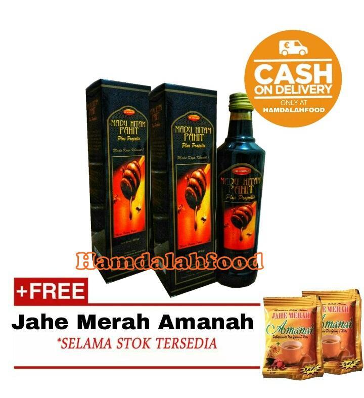 Hamdalahfood - 2 Botol Berkah Nusantara Madu Pahit Hitam Ar Rohmah 460 gr + Jahe Amanah