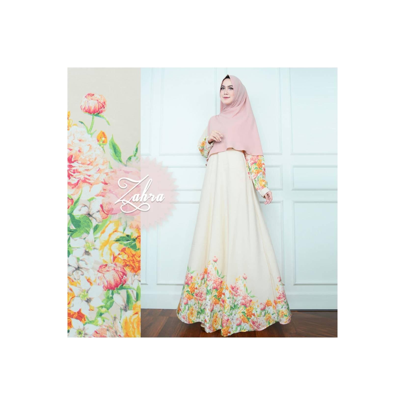 CREAM Gamis Set Monalisa Bunga Tulip Zahra Syari Baju Busana Muslimah