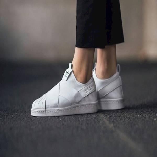 Sepatu Wanita Cewek Adidas ORIGINAL Superstar Slip On Full White Woman