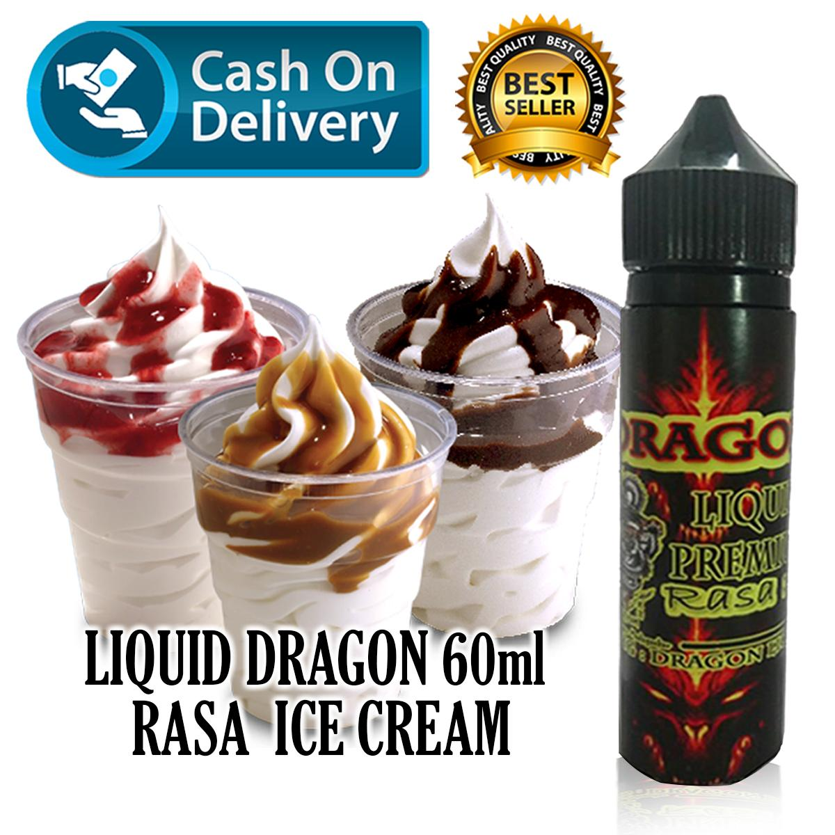 Liquid Dragon 60ml Rasa Ice Cream/Es Krim Free Liquid Tiger 5ml Rasa Random Vapor Vape Rokok Elektrik