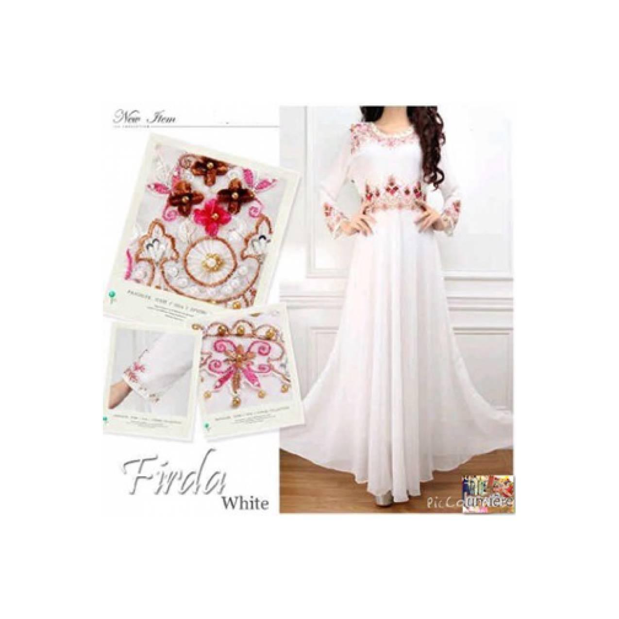 Baju Muslim Wanita Gamis Kaftan Tunik Putih Sifon Furing Payet(s-b)