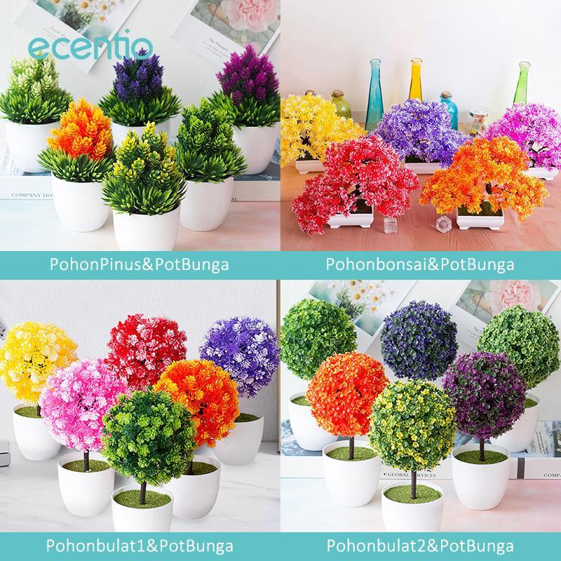 Ecentio Bunga Plastik Artificial Flower Pot Bunga Hias Buatan