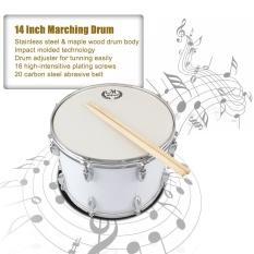14in Marching Drum Stainless Steel & Maple Kayu Body PVC Drumhead dengan Tongkat Shoulder Strap Key untuk Siswa Profesional Drummer -Intl