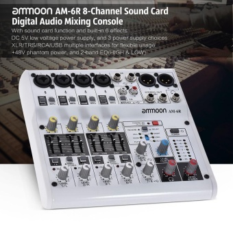 harga ammoon AM-6R 8-Channel Sound Card Digital Audio Mixer Mixing Console Built-in 48V Phantom Power Support with Power Adapter USB Cables for Recording DJ Network Live Broadcast - intl Lazada.co.id