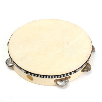 children's percussion dance props sheepskin tambourine parent-child communication hearing grasping for 3-6 years old 10 inch (natural sheepskin) - intl