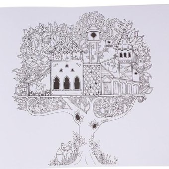 LALANG Secret Garden Magic Forest Coloring Book Black And White