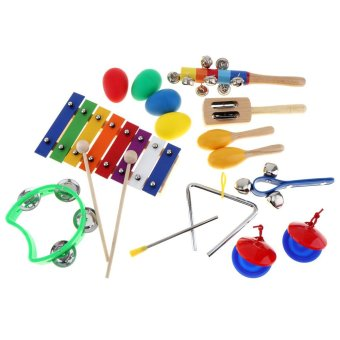 Harga 17pcs/Lot 8 Tone Xylophone Set 9 Kinds Kids Percussion Toys for Children / Baby / Early Education Musical Instruments - intl